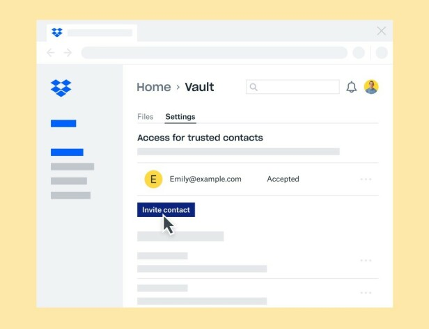 NØDKONTAKTER: Ved nødstilfelle kan andre få tilgang til Vault-filene dine dersom du har valgt dem til å være en såkalt trusted contact. Foto: Dropbox
