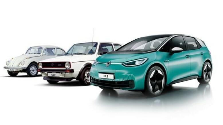 NY FOLKEVOGN? Slik illustrerer Volkswagen hvor viktig nye ID.3 skal være, sammen med folkevognene VW Boble og VW Golf. Illustrasjon: Volkswagen