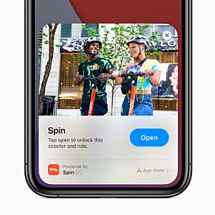 <strong>APP CLIPS:</strong> Nyhet i iOS 14 som lar deg bruke funksjonalitet fra en app uten å installere appen. Foto: Apple