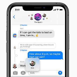 <strong>BEDRE MELDINGER:</strong> Apples Meldinger-app får flere funksjoner som gjør det enklere å ha gruppesamtaler. Foto: Apple
