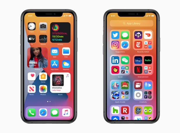 <strong>BEDRE HJEMSKJERM:</strong> Med ordentlige widgeter og App Library får hjemskjermen et løft i iOS 14. Foto: Apple
