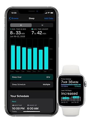 SPORE SØVN: Du kan spore søvnen med Apple Watch i watchOS 7, og så sjekke søvntrender fra Helse-appen på din iPhone. Foto: Apple