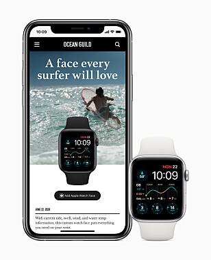 LAST NED URSKIVER: Med watchOS 7 vil det være mulig å dele urskiver man har lagd med andre. Det er dog fremdeles Apples egne urskiver, tilpasset av en selv. Foto: Apple