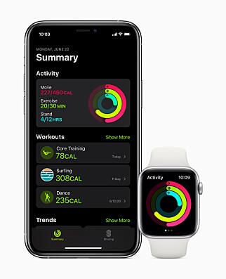 FRA AKTIVITET TIL MOSJON: Den gamle Aktivitet-appen får nytt navn i watchOS 7. Forhåpentligvis blir den også litt letter å bruke med et forenklet brukergrensesnitt. Foto: Apple