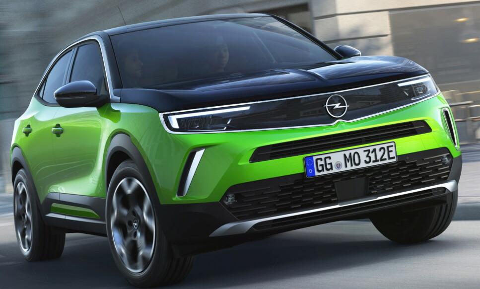 NORGESBIL: Opel Mokka er en liten elektrisk SUV. Med frekk look, frekk pris og grei rekkevidde, kan det plutselig bli mange som kommer til å velge Opel igjen. Foto: Opel