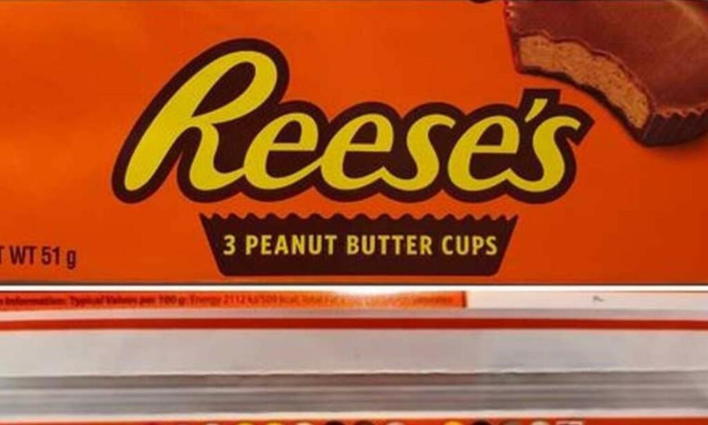 TILBAKEKALLES: Reese's 3 Peanut Butter Cups inneholder genmodifiserte råvarer som ikke er godkjent i Norge. Foto: Mattilsynet