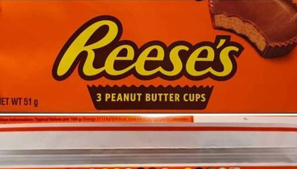 <strong>TILBAKEKALLES:</strong> Reese's 3 Peanut Butter Cups inneholder genmodifiserte råvarer som ikke er godkjent i Norge. Foto: Mattilsynet