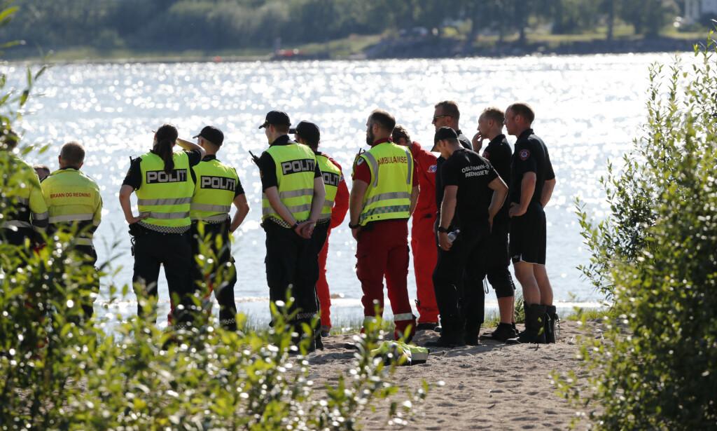 DRUKNINGSULYKKER: Fint vær gir også flere drukningsulykker. Her fra en ulykke i Hurdal i 2019. Foto: Terje Bendiksby/NTB Scanpix