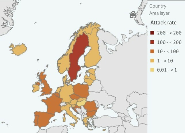 SISTE 14 dager: Bilde tatt fra ECDCs interaktive karttjeneste. Det viser nye smittetilfeller per 100.000 innbyggere siste 14 dager. For nordiske land har Norge er makstall på 20 per 100.000. Kilde: ECDC