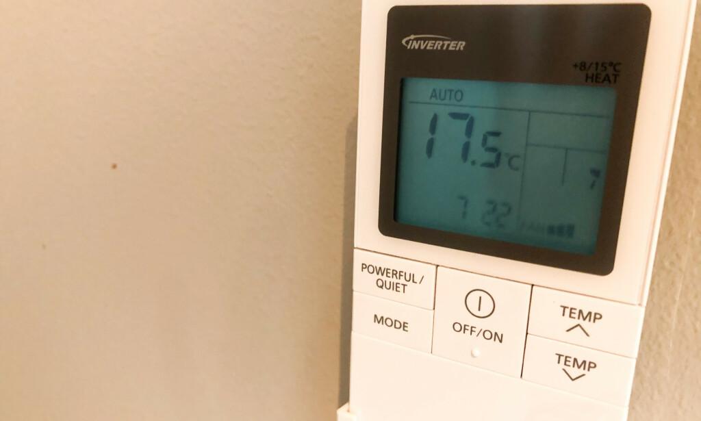 ALTFOR KALDT: Å stille inn varmepumpen på under 20 grader, er ikke nødvendig, ifølge ekspertene. Foto: Linn Merete Rognø.