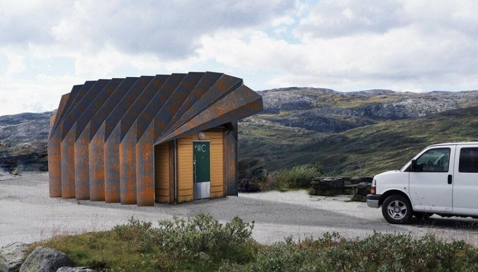 ÅPNES I 2021: Selv om taket vil bli ferdig i høst, vil ikke rasteplassen ved Oscarshaug være klart for å åpnes før til neste sommer. Foto: Jensen & Skodvin