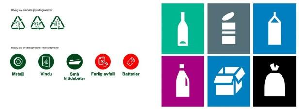 GJENVINNING: Til venstre: de gamle symbolene. Til høyre: eksempel på de nye. Foto: Grønt Punkt