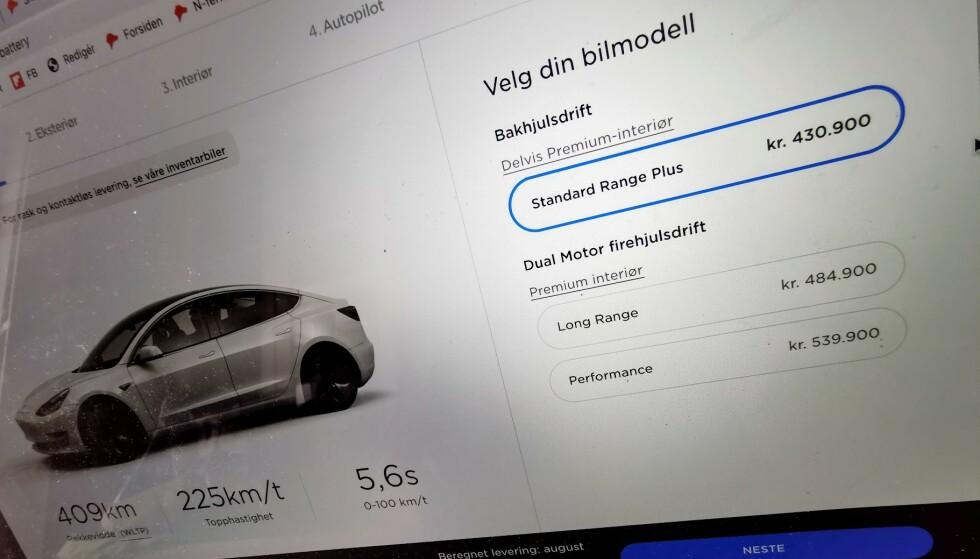 KRØLL: Da tyskeren fikk feilmelding når han trykket på bestill-knappen, prøvde han igjen og igjen. Til slutt hadde han bestilt 27 Tesla Model 3. Foto: Pål Joakim Pollen