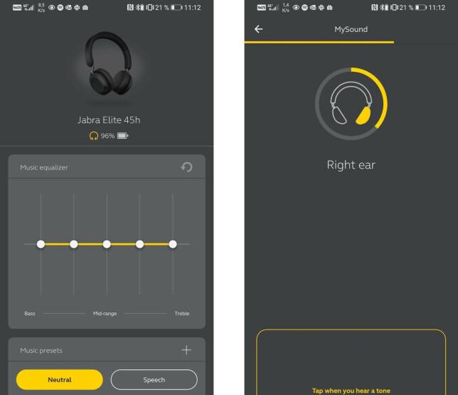 I Jabras app kan du tilpasse lydbildet med equalizer, eller gjennomføre en lyttetest for å få din personlige profil. Foto: Pål Joakim Pollen