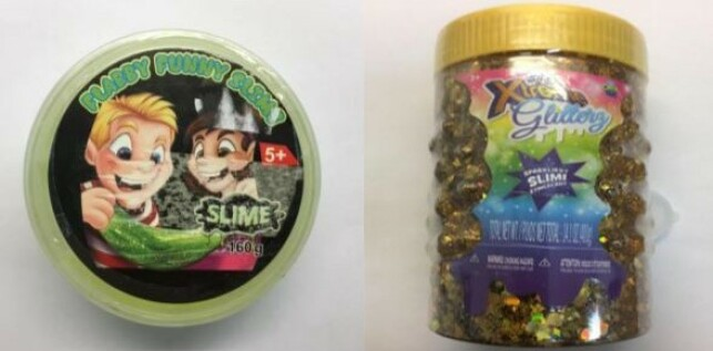 Miljødirektoratets kontroll avdekket skadelige stoffer i Flabby Funny Slime og xtreme Glitterz Orb Slimy. Foto: Miljødirektoratet