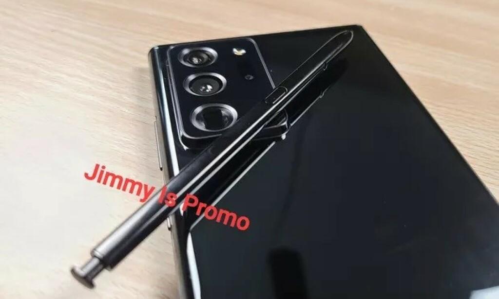 GALAXY NOTE 20: YouTuber Jimmy is Promo har delt dette bilde av det han hevder er Samsung Galaxy Note 20. Foto: Jimmy is Promo/Twitter