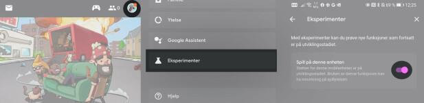 TRE TRYKK: Her er de tre tingene du må trykke på i Stadia-appen for å spille lokalt på telefonen. Skjermbilder: Pål Joakim Pollen