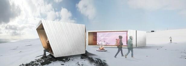HELÅRSAKTIVITET: Fuglekikkerskjul på fjellet Domen ved Vardø. Illustrasjon: Biotope