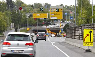 KJØR 300 METER TIL: Bruk alle kjørefeltene helt til det ikke er mulig lenger. Foto: NTB Scanpix