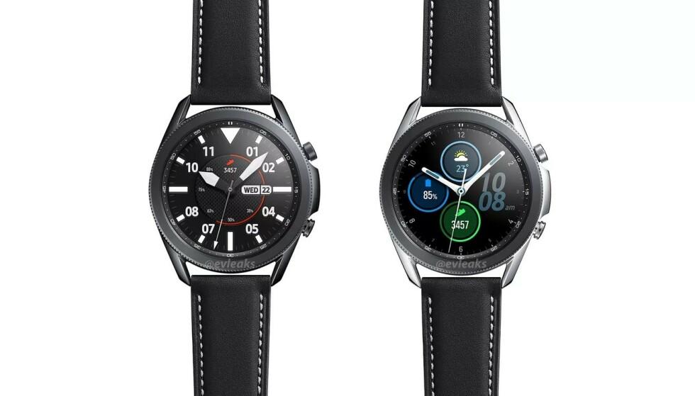 GALAXY WATCH 3: Dette skal være Galaxy Watch 3. Roterende urkasse er trolig tilbake. Foto: Evan Blass/Twitter
