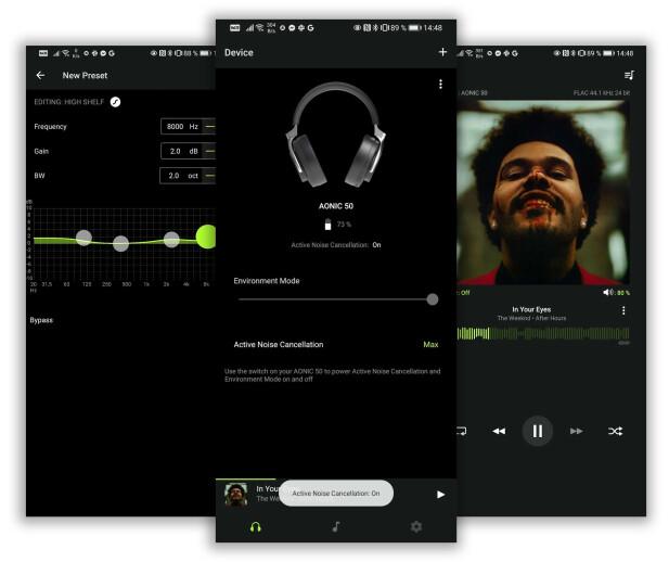 Shure-appen lar deg spille av lokalt lagret musikk og justere lydbildet, men justeringen gjelder kun for musikken du spiller via appen. Foto: Pål Joakim Pollen