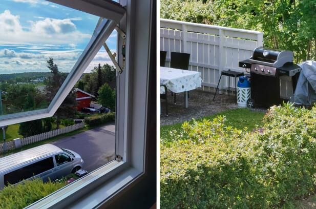 Bildeeksempler med hovedkamera og 10x-kameraet. Vi kan fint lese skriften på grillen med sistnevnte. Foto: Pål Joakim Pollen