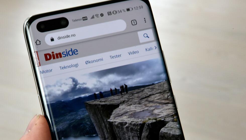 CHROME: Vi får brukt Google Chrome på P40 Pro+, men ikke logget på for å synkronisere bokmerker og den slags. Foto: Pål Joakim Pollen