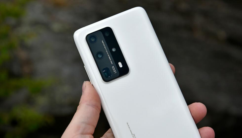 1-2-3-4-5: Huaweis toppmodell, P40 Pro+, har hele fem kameraer på baksiden, inkludert et periskop-objektiv med 10x optisk zoom. Foto: Pål Joakim Pollen