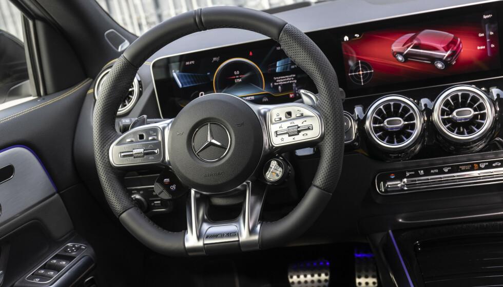 MISTEMANN: Selv om GLA er den minste SUV-en hos Mercedes, blir den svindyr i verstingutgave. Men så finnes det ingen direkte konkurrenter heller. Foto: Mercedes-AMG