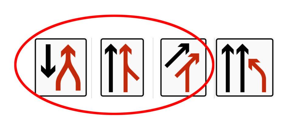 HVORDAN SKAL MAN KJØRE? Mange blir sinte på biler som kjører forbi når to filer blir til én. Det er imidlertid anbefalt å bruke begge kjørefeltene så lenge som mulig, både når det er vikeplikt fra venstre/høyre og i flettekøer med gjensidig vikeplikt. Illustrasjon: Trafikkskilt.no/Dinside.no