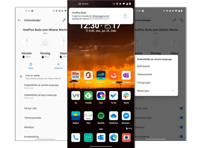 UTEN APP: OnePlus Buds har ikke en dedikert app, men alternativer finner du under Bluetooth- og lydinnstillingene på OnePlus-mobiler.