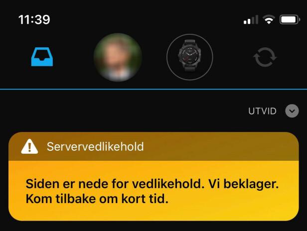 Slik har Garmin Connect-appen vært siden forrige uke.