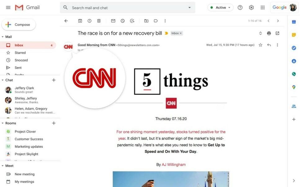 LOGO: Ser du en logo til venstre for avsenderfeltet, skal du ifølge Google være sikker på at avsender er den vedkommende gir seg ut for å være. Foto: Skjermdump