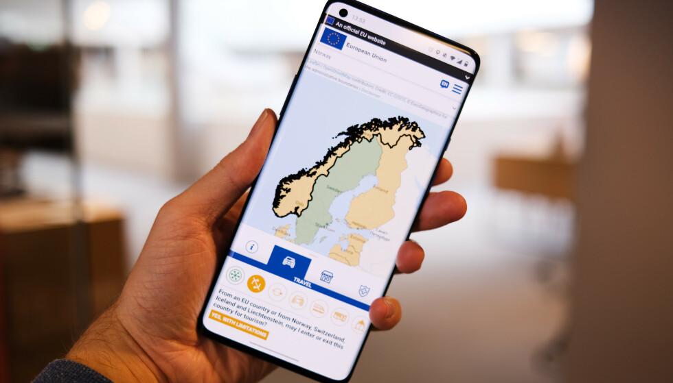 SØK OPP: Ved hjelp av EUs nye app og søkemotor kan du få oppdatert reiseinformasjon om samtlige land i Europa. Foto: Martin K. Størbu