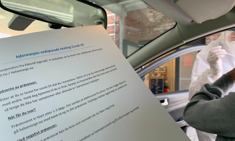 CORONATEST: I mange kommuner foregår test av covid-19 mens du sitter i bilen. Foto: Berit B. Njarga