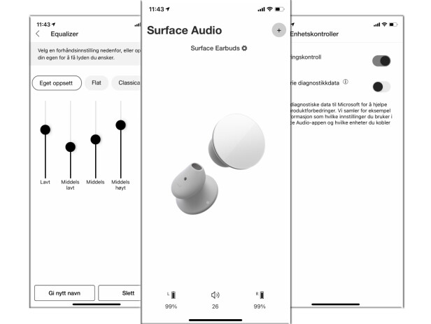 EARBUDS: Surface Audio-app kan lastes ned til iOS, Android og Windows 10.