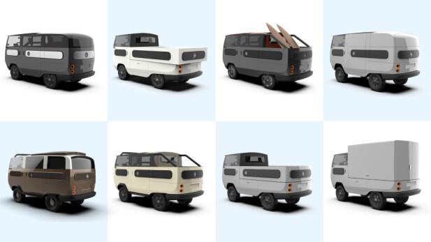 VW-Inspirert. Det er ikke vanskelig å tenke på VW T2 når man ser eBussy. VW hadde også svært mange løsninger til sin varebil/buss før i tiden, faktisk flere enn hva lille eBussy kan tilby. Illustransjon: Electric Brands
