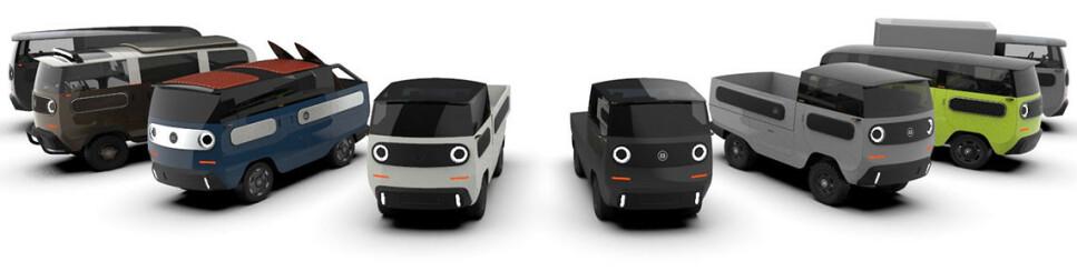 ALTMULIG-MINI: Det tyske selskapet Electric Brands har gått fra elektriske scootere til elektrisk altmuligbil med fleksible batteripakker og plassbesparende nav-motorer. Det gjernstår å se om de får sitt optimistiske Lego-prinsipp ut på gata. Illustrasjon: Electric Brands