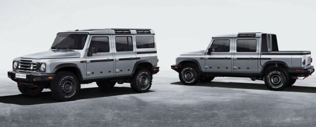TO VERSJONER: Du får den i Pickup og 5 dørs personbil. Foto: Ineos Automotive