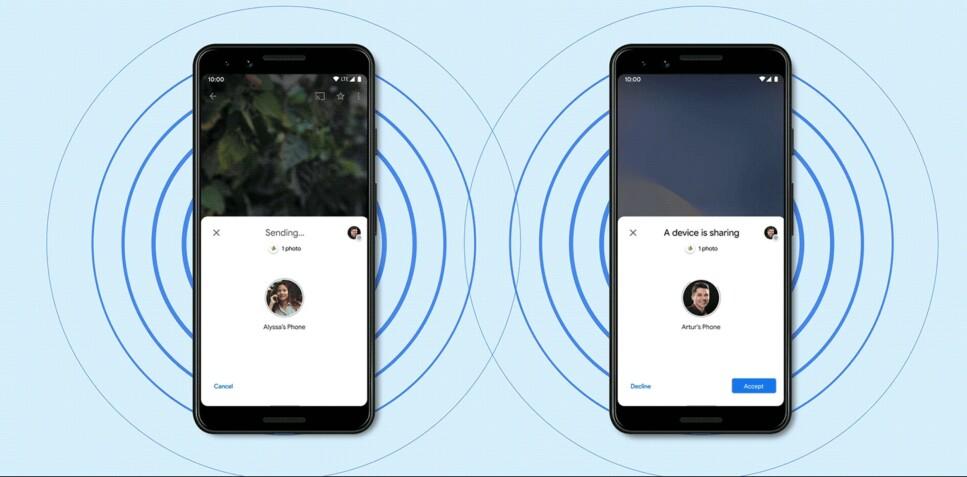 NÆRDELING: Nå for Android-brukerene en funksjon som i stor grad minner om Apples Aidrop. Foto: Google
