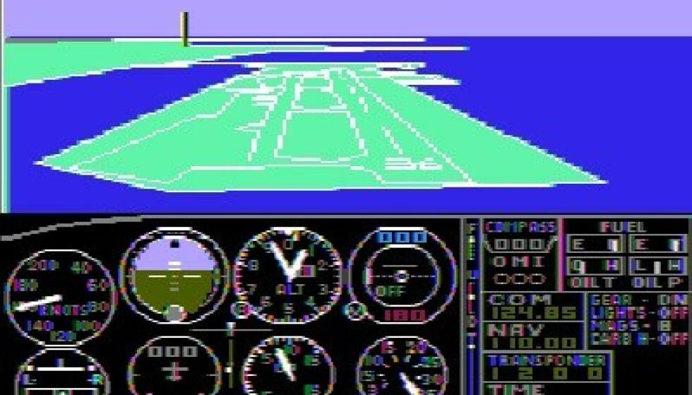 Skjermbilde fra det første Flight Simulator-spillet, som ble lansert i 1982.