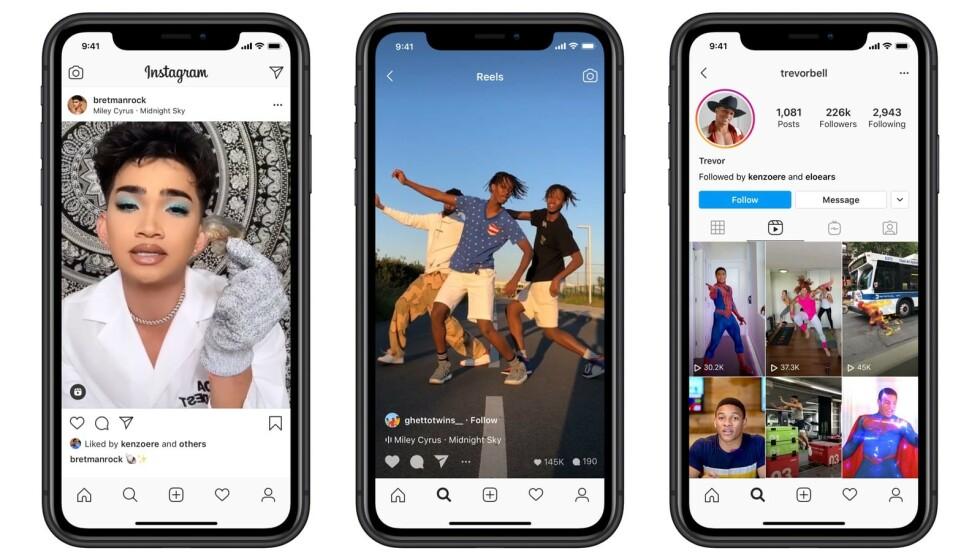 NY FUNKSJON: Nå finnes det enda en måte å lage videoer på i Instagram, kalt Reels. Det er i praksis en litt enklere utgave av TikTok. Foto: Instagram