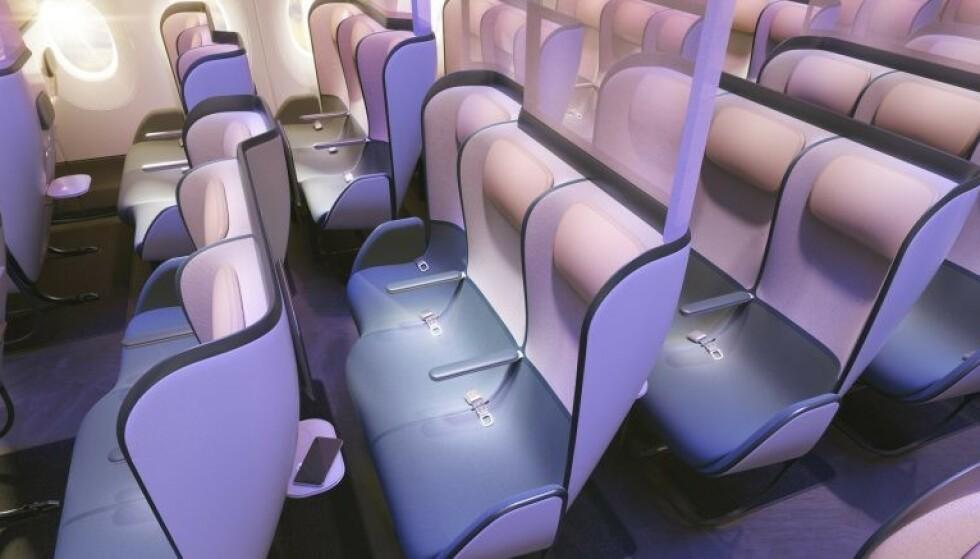 NY KABIN: Bildet over viser hvordan økonomiklasse-kabinen kan se ut med det nye, britiske smittesikkerhetstiltaket. En del av setene er forskjøvet, noe som skal gi en bedre komfortfølelse, og annenhver seterad er adskilt med vegger som skal sikre seperasjon av passasjerene. Foto: Priestmangoode.