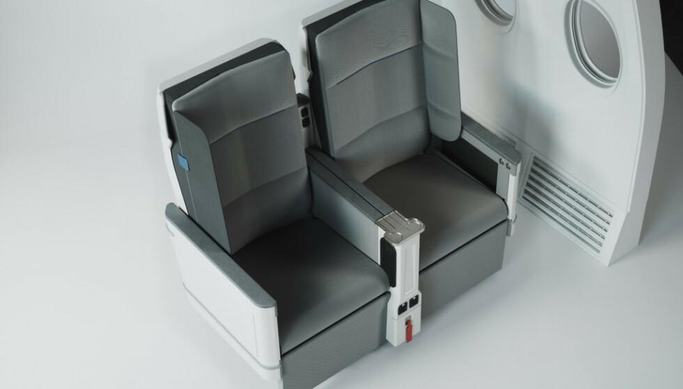VEGGER: Utfellbare sidevegger mot begge setevangene skal gi bedre hvile og mer privatliv for reisende på premium økonomiklasse. Foto: Universal Movement.