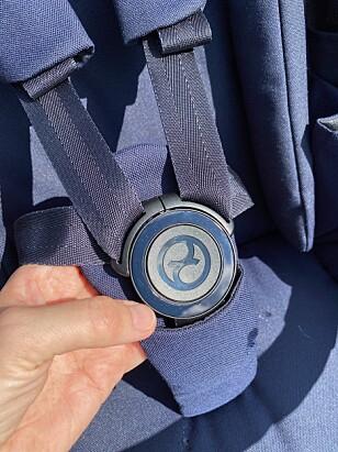 5-PUNKTSSELE: Barnet spennes fast i denne fempunktsselen. Foto: Kirsti Østvang