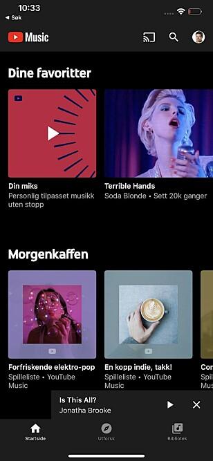 YT MUSIC: Slik ser appen ut på Android-mobiler. (Skjermdump)