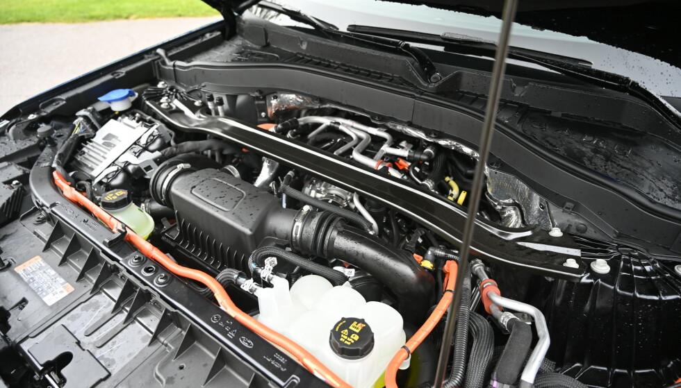 V6: 3-literen har 357 hk og 555 Nm alene, men blir litt tørst på langkjøring. Egen panserstøtte og oransje tape på høyspent-ledningene er noen av mange detaljer som viser at Ford sparer penger der man kan. Foto: Rune M. Nesheim