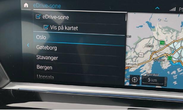 BESTEM SELV: Du kan selv klikke bort visningen av e-Drive-sonen på kartet. Foto: Marius Tegneby BMW