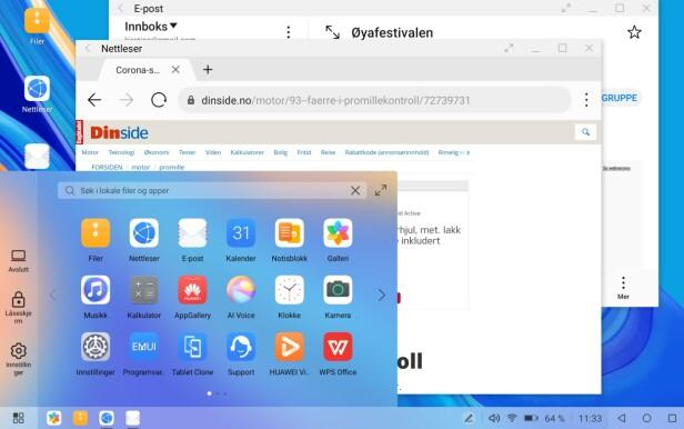 SKRIVEBORDSMODUS: Ønsker du å jobbe på MatePad Pro mer som en vanlig PC, kan du aktivere skrivebordsmodus, så får du opp dette grensesnittet. Skjermbilde: Kirsti Østvang