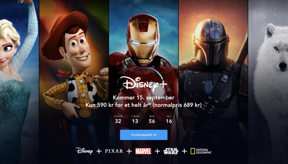 LANSERINGEN NÆRMER SEG: Mange har ventet på at Disney+ endelig skulle lanseres i Norge. Om litt over en måned blir den endelig tilgjengelig. Skjermbilde: Kirsti Østvang